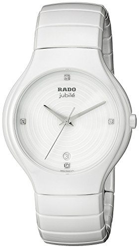 Rado Watch, Women's Swiss True Diamond Accent White Ceramic Bracelet 40mm R27695712
