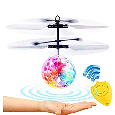 Weide Flying Ball, Remote Control Flying Toy, Children's Toy, Infrared Induction Helicopter Drone, Colorful Shiny LED Lights and Children, Indoor and Outdoor Games (Flying Ball): Toys & Games