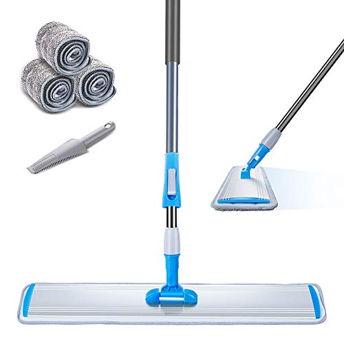 Large Area Mop 24 Microfiber Flat Mop with 3 Mop Pads Heavy Duty Floor Mop with Stainless Steel Handle Masthome