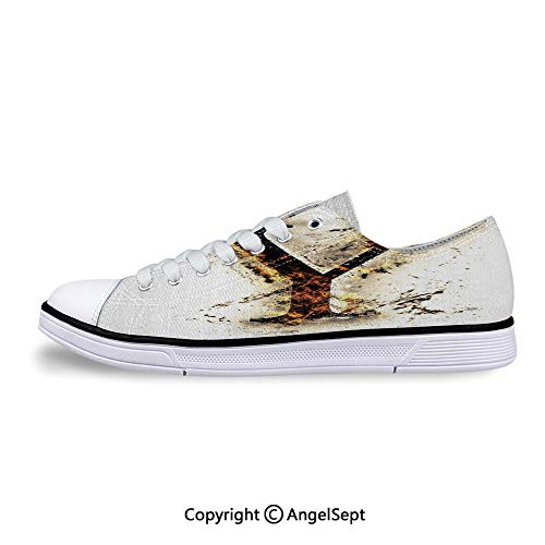(Sneakers for Ladies Flames Burning Grunge Gothic Style Low Top Canvas)