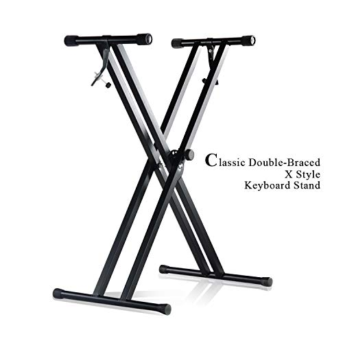 (Pro Series Adjustable Double-Braced X Style Piano Keyboard Heavy Duty Premium Stand - Black APL1301)