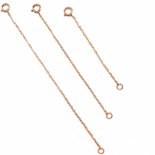 BENIQUE 14K Gold Filled Choker Necklace Bracelet Extender - Fine Thin Chain, Durable Strong Removable, Made in USA, Gold/Rose Gold (Pink/Set 2