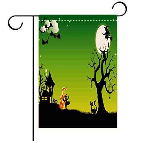 Polyester and linen Garden Flag Outdoor Flag House Flag BannerHalloween Decorations Witch Dancing with Fire at Halloween Ancient Western Horror Image Green Bdecorated for outdoor holiday gardens