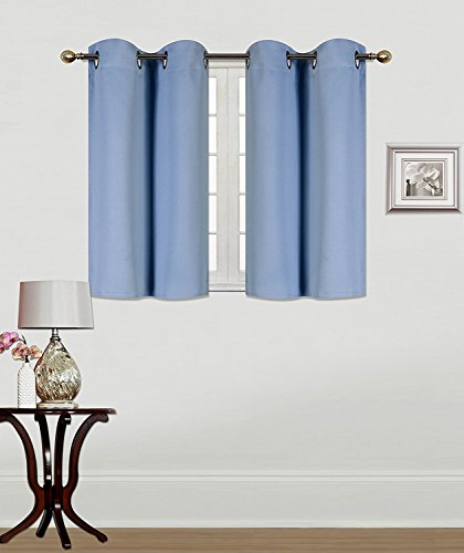 Elegant Home 2 Panels Tiers Grommets Window Treatment Curtain Thermal Heavy Thick Light Filtering Blackout Drapes Short Panel 30