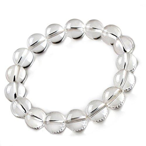 Jan Dee Natural Genuine Semi-Precious Healing Power Clear Quartz Crystal Bracelet Prayer Beads 3A 14mm