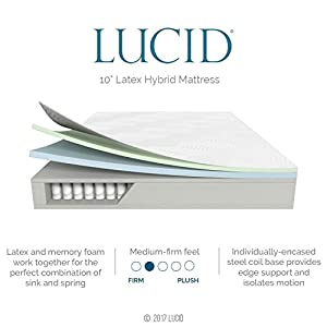 LUCID 10 Inch Queen Latex Hybrid Mattress - Cooling Gel Memory Foam - Responsive Latex Layer - Adaptable - Premium Support - Durable Steel Coils
