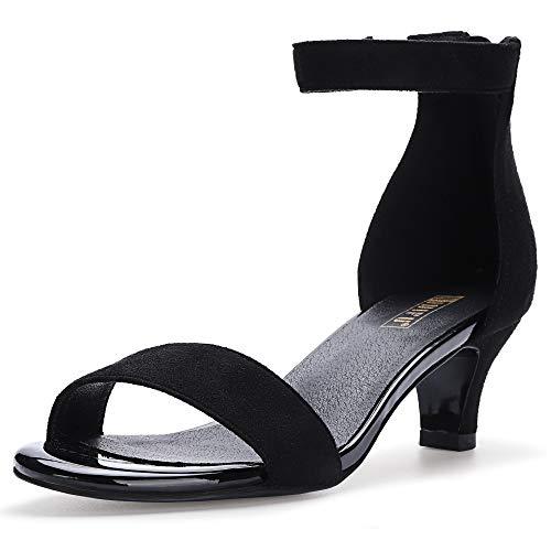 IDIFU Women's IN2 Slim Fashion Stilettos Ankle Strap Open Toe Pump Heeled Sandals Kitten Heel Party Shoes with Zipper (9.5 M US, Black Suede)