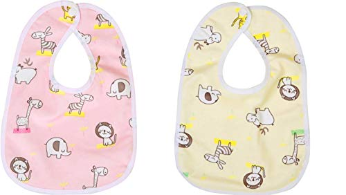 Chinmay Kid Soft Cotton Baby Bibs for Toddler   Infant  Pink  Cream, Set of 2