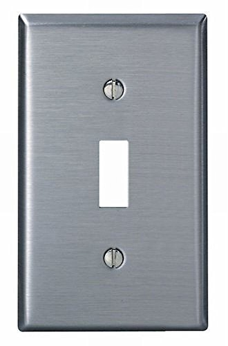 Leviton 004-84001-04 Single Gang Stainless Steel Single Toggle Wallplate - 2 Pack