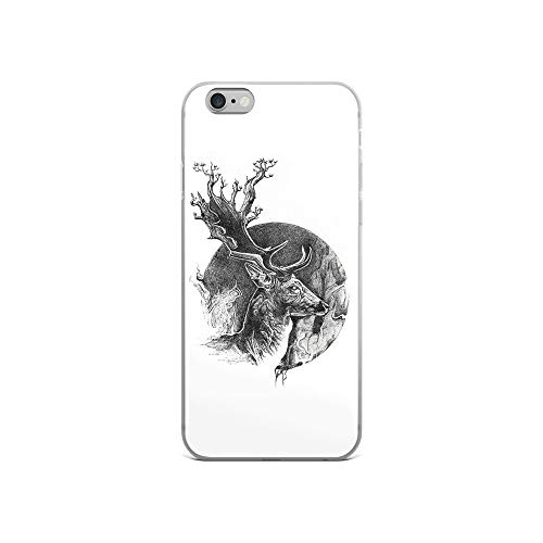 "iPhone 6/6s Case Anti-Scratch Creature Animal Transparent Cases Cover Deer Graphite Drawing ""the Deer Teaches Us How Power Animals Fauna Crystal Clear"