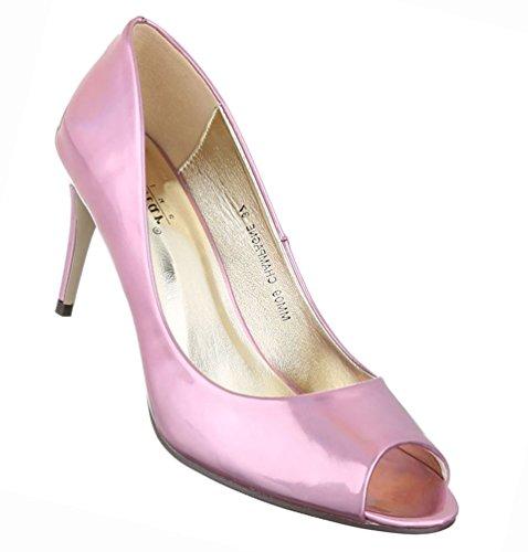 Damen Schuhe Pumps Peep Toe High Heels Stiletto Schwarz Rosa