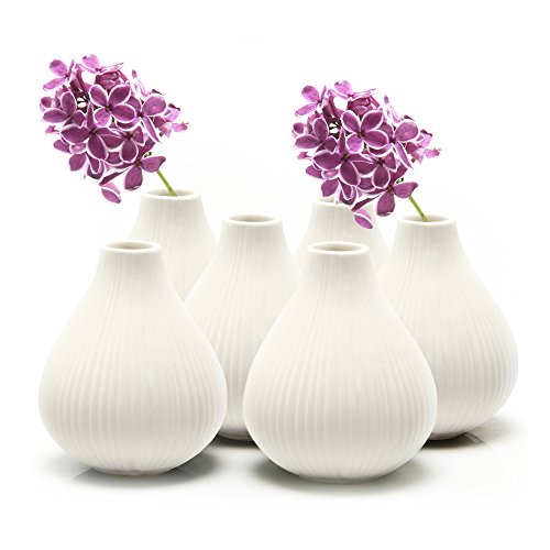 - Chive - Frost, Round Clay Pottery Flower Vase, Decorative Vase for Home Decor Living Room Office and Place Settings - Bulk Set of 6 (White)
