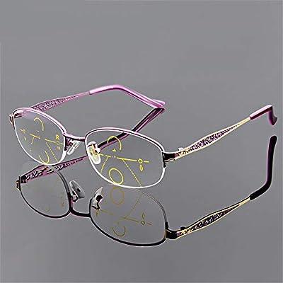 bf155b8b7f KOMNY Las Gafas de Lectura multifocales progresivas Femeninas se Ven lejos  y Cerca de Medio Marco de Doble Uso 350 400 Grados de Gafas progresivas de  ...