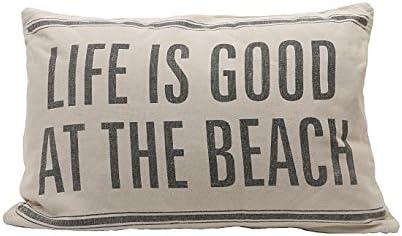 Creative Co-op Cream Grey Life is Good at The Beach Cotton Linen Pillow