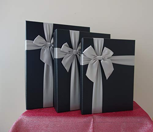 Black Rectangular Gift Boxes with Ribbon, a Nested Set of 3