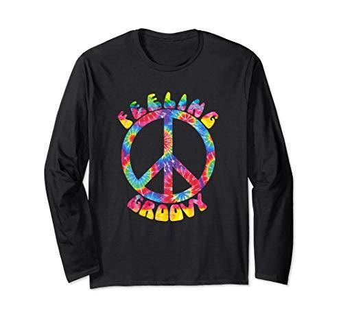 Vintage 1970s Tie Dye Feeling Groovy Peace Sign   Long Sleeve T-Shirt