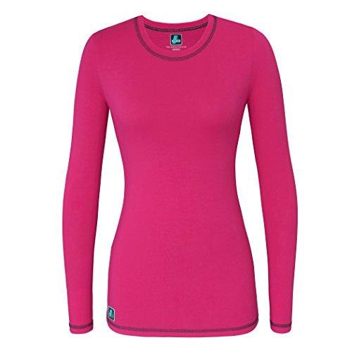 Adar Womens Comfort Long Sleeve Fitted T-Shirt Underscrub Tee- 3400 - Fuchsia - S