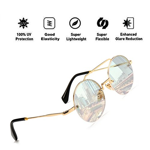 Eyewear Hombres PC Protection Frame Round con Mujeres UV400 HD Lens Claro Aviator Sunglasses Reflective Fashion Oversized para ATNKE 1Cax8X