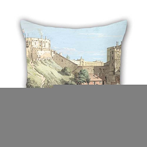 Throw Cushion Covers Of Oil Painting Paul Sandby - Windsor Castle- The Round Tower, Royal Court And Devil's Tower From The Black Rod For Indoor Teens Boys Home Office Deck Chair Sofa 16 X 16 Inche