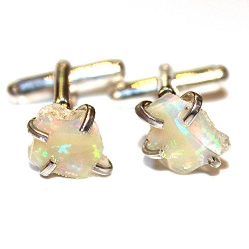 Raw Opal Cuff Link in Sterling SIlver by FizzCandy Jewelry