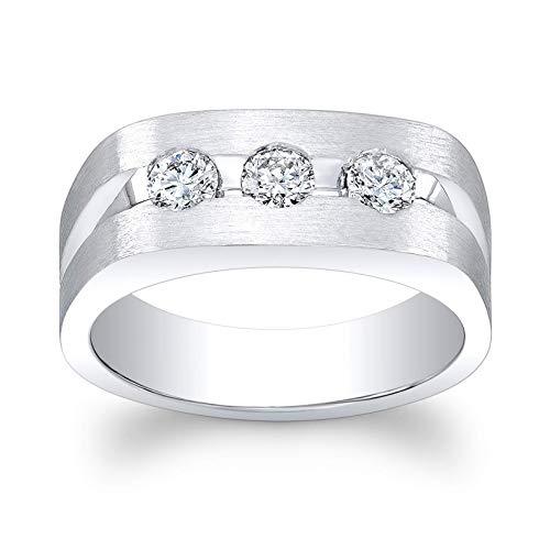 (Men's Platinum 3 diamond channel wedding band 0.67 ctw G-VS2 )