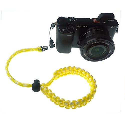 FoRapid Braided 550 Paracord Adjustable Camera Wrist Strap/Bracelet Quick Release Connector fits All Camera Lugs for Mirrorless Compact System DSLR Cameras, Binoculars - Yellow/White
