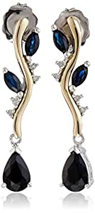 Sterling Silver 14k Yellow Gold Blue Sapphire and Diamond-Accent Earrings (0.02cttw, I-J Color, I3 Clarity)