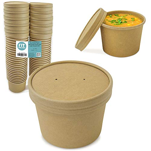 [50 Pack] 12 oz Kraft Compostable Paper Food Cup with Vented Lid - Rolled Rim Storage Bucket, Hot or Cold Dish To Go Packaging, Ramen Soup Stews Salad Frozen Dessert Yogurt Ice Cream Container