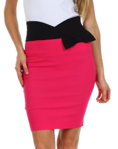 Sakkas 8641 Scallop High Waist Stretch Pencil Skirt with Bow - Hot Pink - Small (Hot Pink Pencil Skirt compare prices)