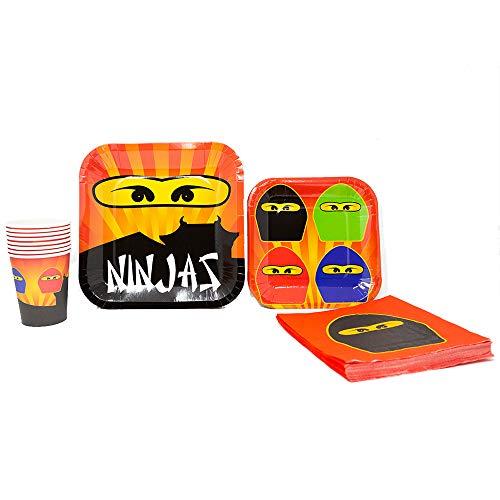 Blue Orchards Ninja Master Standard Party Packs (65+ Pieces for 16 Guests!), Ninjago-Inspired Birthday Sets, Ninjago Tableware Packs]()