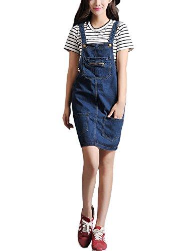 Tanming Women's Sleeveless Denim Suspender Skirt Overall ...