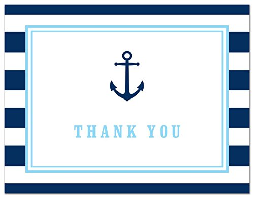 50 Cnt Navy Stripes Blue Border Nautical Boy Baby Shower Thank You Cards by MyExpression LLC (Image #2)