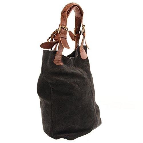 cuir femme 34x35x10cm pour Sac marron anthracite main à en daim main Femme en suède véritable V LECONI Sacs Cuir bureau shopping en LE0033 Sac ou à cuir en Hdfgw8qpzx