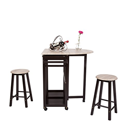 - 3PCS Dinning Set Table Rolling Kitchen Island Trolley Cart Set Breakfast Bar Cart Drop-Leaf Folding Table w/2 Stools and 2 Drawers