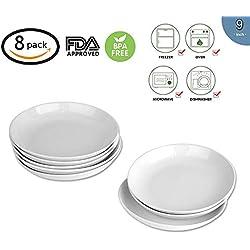 9-inch Porcelain Pasta/Salad Bowls,White Soup Bowl Set, Wide & Shallow, Set of 8 - Spiral Pattern