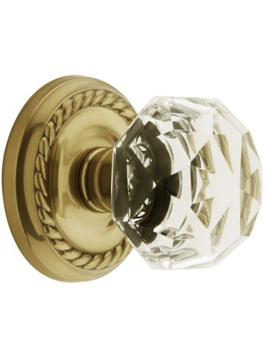 Classic Rope Rosette Set With Diamond Crystal Knobs Privacy In Antique Brass. (Brass Classic Rosette)