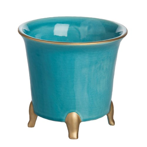 Abigails Round Cachepot, Large, Turquoise with Gold