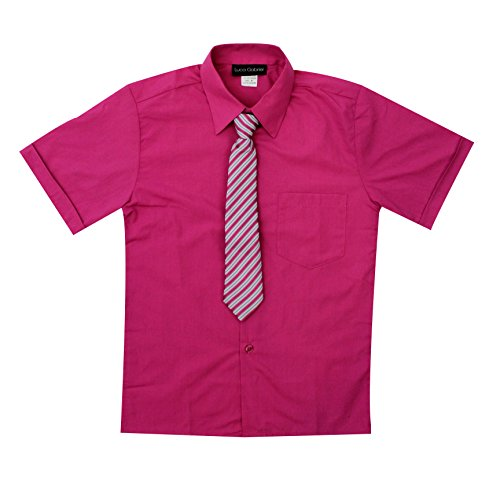 (Luca Gabriel Toddler Boy's Short Sleeve Formal Button Down Dress Shirt & Tie Set - Fuchsia Size)