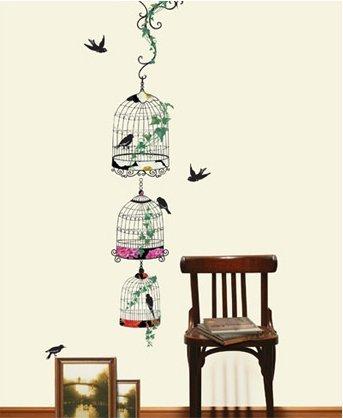 Birds, Birdcages, and Ivy Decorative Vinyl Home Wall Art Sticker ()