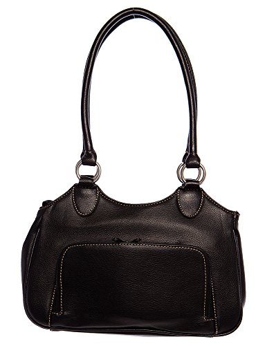Pink Stitched Black Leather Tote - Medium Classic Stitched Tote Shoulder Handbag by Handbags For All