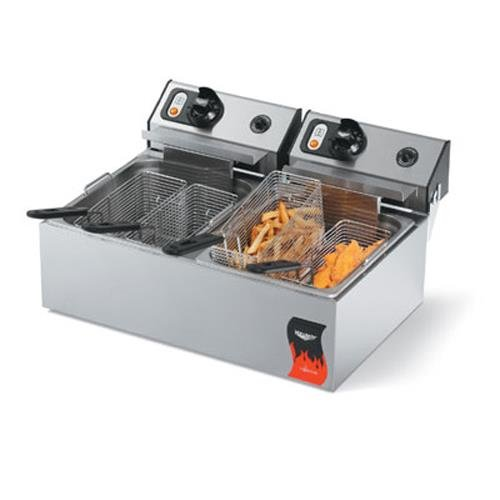 Vollrath (40708) 20 Lb. Standard-Duty 220V Electric Split-Pot Countertop Fryer-Cayenne