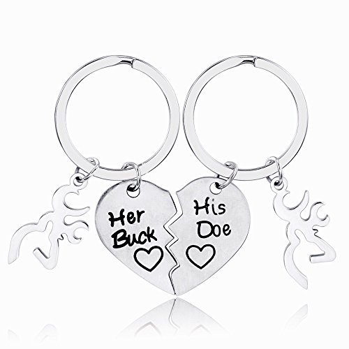 Udobuy His and Her Couple Keychain Set Stainless
