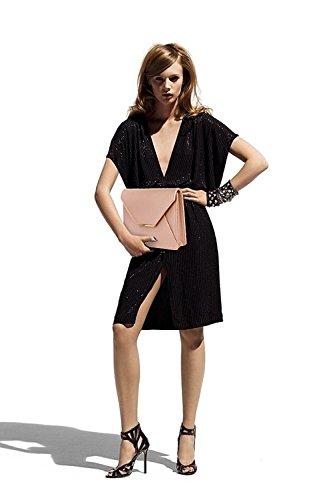 ANNA GRACE - Cartera de mano de piel sintética para mujer Design 2 -Champagne