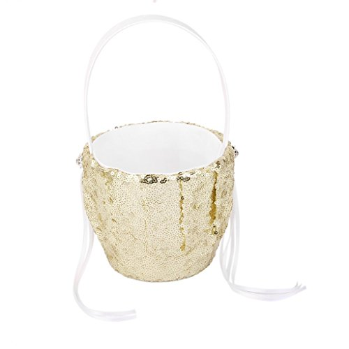 Wedding Flower Basket, Shinning Sequins Ribbon Wedding Girls Flower Basket, Wedding Flower Petal Holder Wedding Romantic Flower Girl Basket for Wedding Ceremony Party Birthday Party Baby Shower - Favors Holder Basket