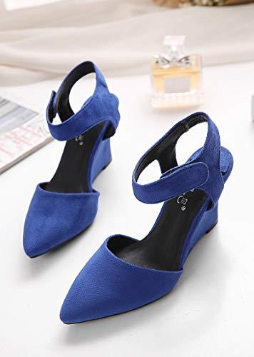 Yukun zapatos de tacón alto Zapatos De Tacón De Aguja De Tacón Alto De Moda De Hadas con Un Solo Zapato Boca Poco Profunda, 35, Plata Blue