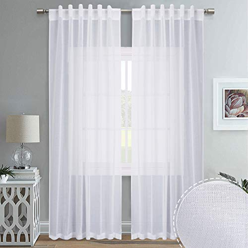 RYB HOME Decor Linen Like Sheer Curtains with Rod Pocket Back Tab 2 Hanging Top, Semi Transparent Privacy Drapes for Living Room Bedroom Sliding Patio Door, Wide 55 x Long 84, 2 Panels (Drapes Curtains With Hanging Sheer)
