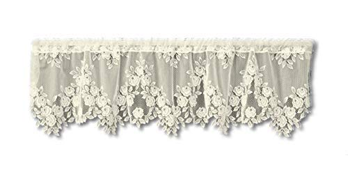 (Heritage Lace Tea Rose 60-Inch Wide by 17-Inch Drop Valance, Ecru)