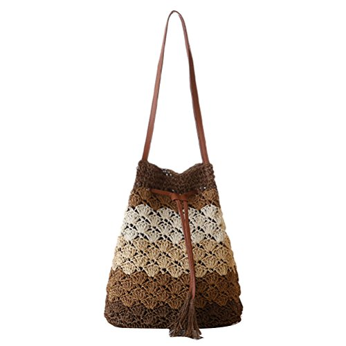 Zhhlaixing Casual Color Striped Straw Bag Tassel Shoulder Woven Bags Bucket Beach Leisure Package Bolsa hermosa especial for Womens Brown