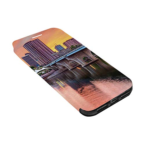 United States Leather Phone Case,Water Reflection in Evening Urban City Hartford Connecticut Tranquil Sunset Decorative Compatible with iPhone X, iPhone X ()
