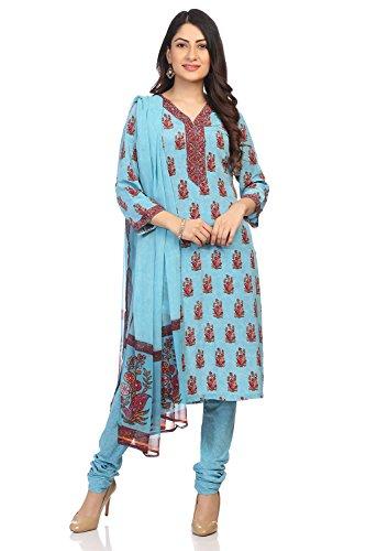 (BIBA Women's Blue Polyster Salwar Kameez Dupatta Size)